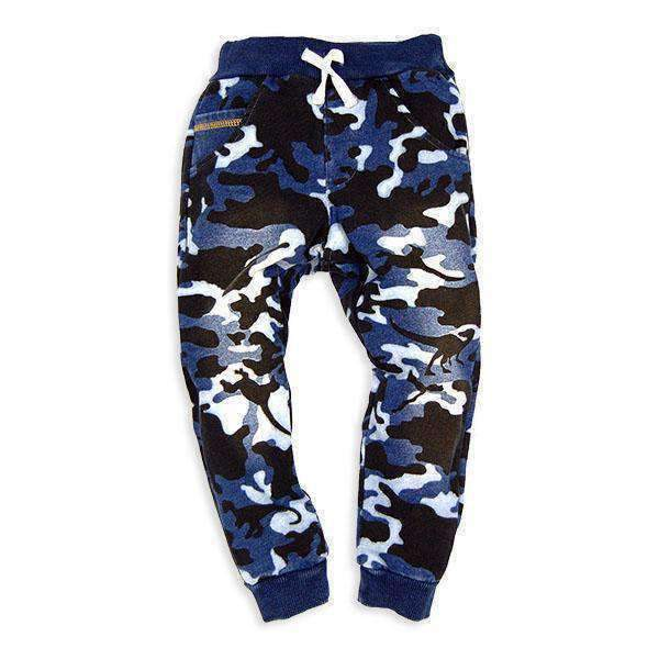 Indigo Camo Printed Sweatpants - BLUE 18aw