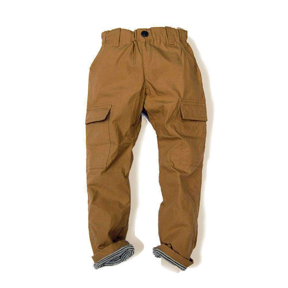 Stripe Lined Cargo Pants - CAMEL 18aw
