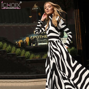 Zebra Print Striped Female Office Dress Women Evening Party Maxi Dresses