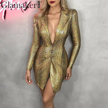 Load image into Gallery viewer, Gold snake print sexy v-neck short dress Bodycon elegant buttons mini blazer dress Female 2019 autumn party club dress