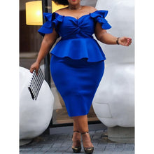 Load image into Gallery viewer, Plus Size Royal Blue 4XL 5XL Dress for Women Off the Shoulder Elegant Sexy Club Party Retro Ruffles Bodycon Midi Dress Ladies