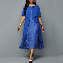 Load image into Gallery viewer, Summer Office Ladies Blue Elegant Party Vintage African Women Midi Dresses Plus Size Bodycon Plain Falbala Female Chic Dress