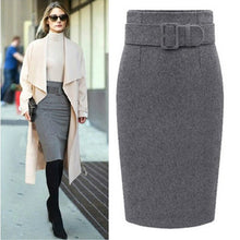 Load image into Gallery viewer, New Fashion Autumn Winter 2018 Cotton Plus Size High Waist Saias Femininas Casual Midi Pencil Skirt Women Skirts Female
