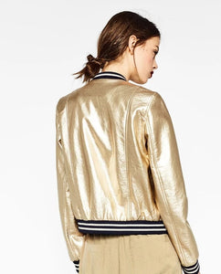 Spring Cool Fashion Gold PU Leather Jacket Female Bomber Coat Stand Collar Striped Patchwork Silver Women's Jackets Streetwear