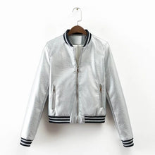 Load image into Gallery viewer, Spring Cool Fashion Gold PU Leather Jacket Female Bomber Coat Stand Collar Striped Patchwork Silver Women's Jackets Streetwear