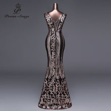 Load image into Gallery viewer, Poems Songs 2019 New Double-V Long Evening Dress vestido de festa Sexy Backless Luxury Gold Sequin formal party dress prom gowns