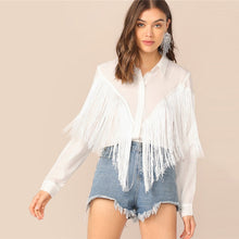 Load image into Gallery viewer, Chevron Fringe Trim Women Shirts Ladies Tops 2019 Long Sleeve Placket Spring Summer White Blouse Casual Solid Shirt