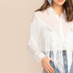 Chevron Fringe Trim Women Shirts Ladies Tops 2019 Long Sleeve Placket Spring Summer White Blouse Casual Solid Shirt