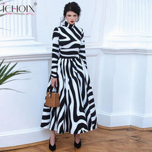 Load image into Gallery viewer, Zebra Print Striped Female Office Dress Women Evening Party Maxi Dresses