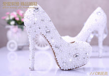 Load image into Gallery viewer, White pearl wedding shoes crystal diamond bridal shoes w platform shoes wedding photos party shoes for girl