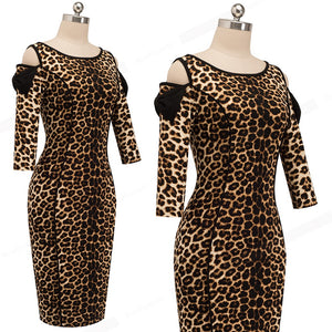 Vintage Leopard Printed Work Vestidos Cold Shoulder with Bow Business Party Office Dress