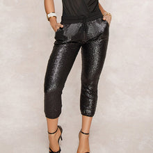 Load image into Gallery viewer, Women Drawstring Waist Bling Party Nightclub Calf-length Trousers