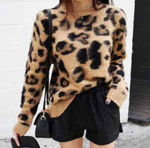 Leopard Print Cashmere Sweater Women Pullover Mohair Sweater Korean Long Sleeve Knit Pullovers O-Neck Winter Warm Jumper Tops