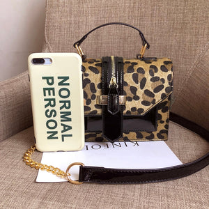 Leopard Crossbody Bags For Women with Zipper Decoration Ladies Chain Handbags And Purses Patent leather Small  Shoulder Bag