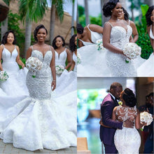 Load image into Gallery viewer, Luxury African Mermaid Wedding Dresses Plus Size 2019 robe de mariee Black Girl Women Lace Wedding Gowns Handmade Bride Dress