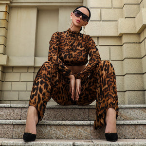 Yesexy 2019 Sexy Leopard Women Jumpsuit Two pcs Set Elegant Rompers Long Sleeve Short Top Party Jumpsuits Clubwear VR18531