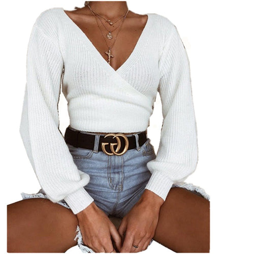 Sweater pullover 2019 Casual solid Fashion White Long Sleeve V-neck Women Clothing