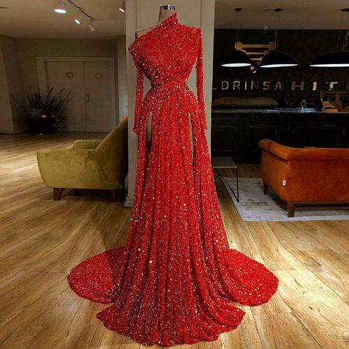 Arabic Muslim Formal Evening Dresses Long Mermaid One Shoulder Prom Dress 2019 Dubai Couture Kaftan Vestidos De Fiesta De Noche