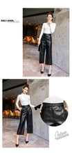 Load image into Gallery viewer, High Waist Faux Leather Ladies Trousers Winter Pants Wide Leg Pants Pantalon