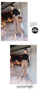 High Waist Faux Leather Ladies Trousers Winter Pants Wide Leg Pants Pantalon