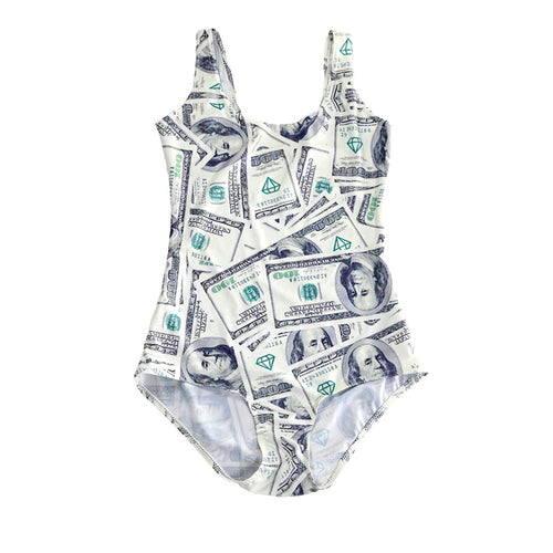 4XL 4 Patterns US Dollar Cash Printing Sexy Swimwears One Piece For Women Blue Red Sexy Beach Wear Triangle Suits