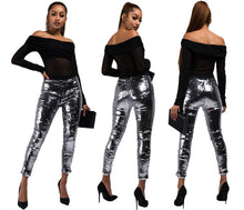 Load image into Gallery viewer, Fashion Nightclub Sequin Pencil Pants 2018 Solid Silver Women Bling Skinny Calf-length Trousers Party Leggings Female Streetwear