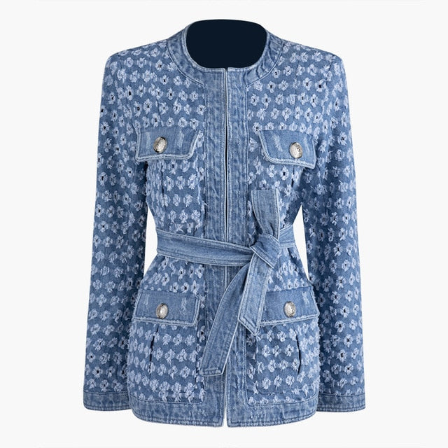 Denim Jacket New Lapel Long Sleeve Women  Coat Fashion Tide Autumn Winter 2019 JZ281