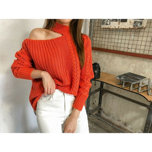 2019 Winter Women Sweaters Solid Casual One Shoulder Pullover Basic Jumper Autumn Turtleneck Knitted Knit Sweater Female
