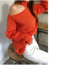 Load image into Gallery viewer, 2019 Winter Women Sweaters Solid Casual One Shoulder Pullover Basic Jumper Autumn Turtleneck Knitted Knit Sweater Female