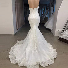 Load image into Gallery viewer, New Arrival Real Image Wedding Dress 2019 Mermaid Sweetheart Off Shoulder Lace Appliqued Beads Bridal Wedding Gowns Custom Made