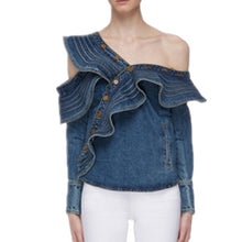 Load image into Gallery viewer, Sleeve Women Blouse Fashion Blue Denim Jeans Blouse Ladies Tops