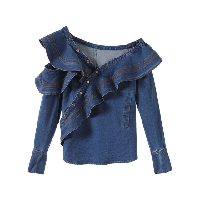 Sleeve Women Blouse Fashion Blue Denim Jeans Blouse Ladies Tops