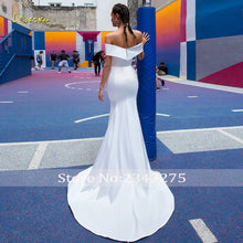 Load image into Gallery viewer, Loverxu Sexy Boat Neck Matte Satin Mermaid Wedding Dresses 2019 Simple Detachable Train Lace Vintage Trumpet Bridal Gowns