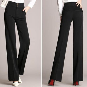Fashion Womens Office Pants New Designer Ladies Black Navy Wide Leg Pants Womens Slim Formal Suits Pants Trousers