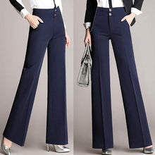 Load image into Gallery viewer, Fashion Womens Office Pants New Designer Ladies Black Navy Wide Leg Pants Womens Slim Formal Suits Pants Trousers