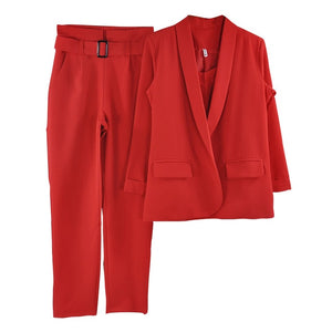 Solid 3 Pieces Set Buttonless Slim Blazer CamisTops and Pant Women Pants Suits