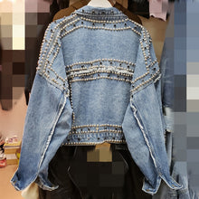 Load image into Gallery viewer, 2019 Women Harajuku Denim Coat Heavy Hand Beaded Rivet Short Jeans Jackets Spring Autumn Lady Casual Loose Single Breasted Top