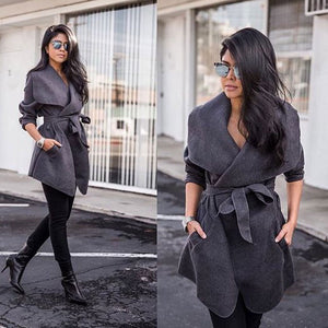 Winter Coats WomJackets Sexy V Neck Belt Lace-up Solid Casual Slim Overcoats Female Outer