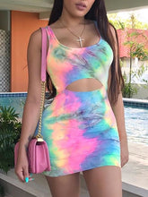 Load image into Gallery viewer, 2019 Summer Women Sexy Elegant Slim Fit Sheath Mini Party Dress Female Sleeveless Tie Dye Print Dress Cutout Bodycon Dress
