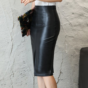 Waist Bodycon Split Skirt Office Pencil Skirt Knee Length Plus Size