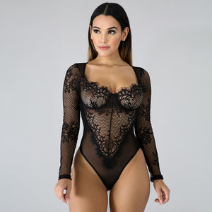 Fashion Patchwork Mesh Long Sleeve Teddy 2019 New Women's Clothes