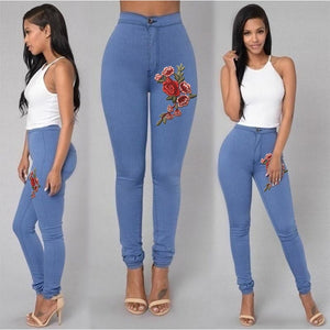 High Waist Stretch Jeans Rose Pencil Trousers Plus Size S-3XL