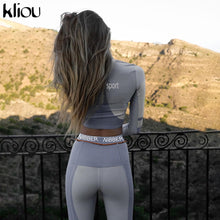 Load image into Gallery viewer, women fitness two pieces set long sleeve crop top letters print elastic skinny leggings sportswear tracksuit slim outfit