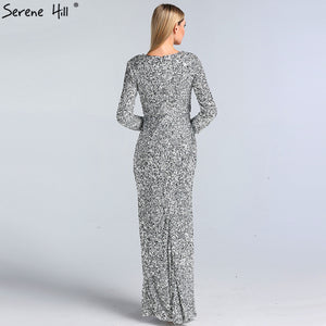 Dubai Luxury Silver Long Sleeves Evening Dresses 2019 Latest Designer Sequined Sparkle Evening Gowns Serene Hill LA60838