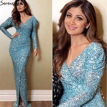 Load image into Gallery viewer, Dubai Luxury Silver Long Sleeves Evening Dresses 2019 Latest Designer Sequined Sparkle Evening Gowns Serene Hill LA60838