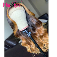 Load image into Gallery viewer, Honey Blonde Full Lace Human Hair Wigs Colored 360 Lace Frontal Wig Ombre 13x6 Lace Front Human Hair Wigs Preplucked Lace Wig