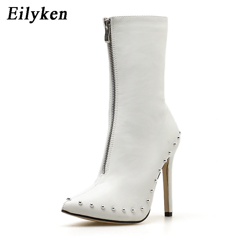 Women Ankle Boots  Rivet High Heels Shoes Woman Pointed Toe Sexy Motorcycle boots For Females