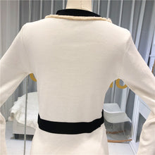 Load image into Gallery viewer, ALPHALMODA Autumn 2019 New French V-neck and Long Sleeve Knitted Dress  Women Slim Waist Faux Pocket Fashion Outfit