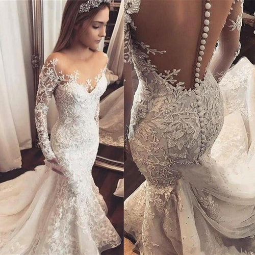 Wedding Dress Long Sleeve White Lace Applique Bridal Wedding Gowns Open Back Bride Wedding Dress