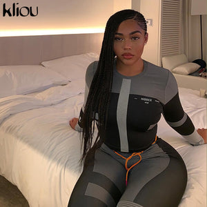 women fitness two pieces set long sleeve crop top letters print elastic skinny leggings sportswear tracksuit slim outfit
